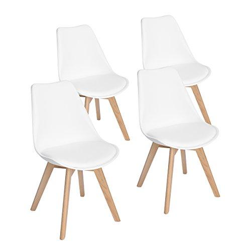 EGGREE 4er Set Esszimmerstühle mit Massivholz...