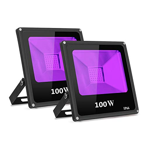2-Pack UV Schwarzlicht 100W violettes LED Strahler...