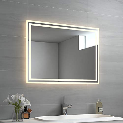 EMKE LED Badspiegel 80x60cm Badspiegel mit...