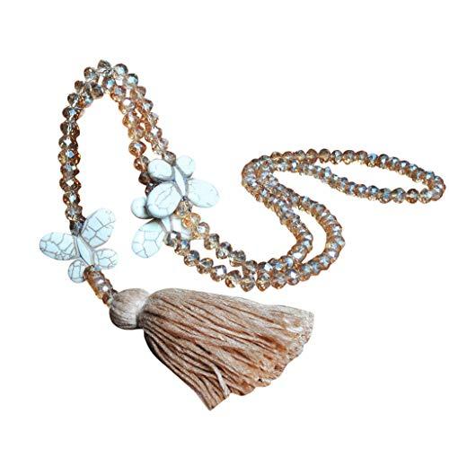 Yowablo Halskette Anhänger Frauen Quaste Kristall...