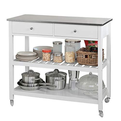 SoBuy® FKW47-W Küchenwagen mit Edelstahlplatte...