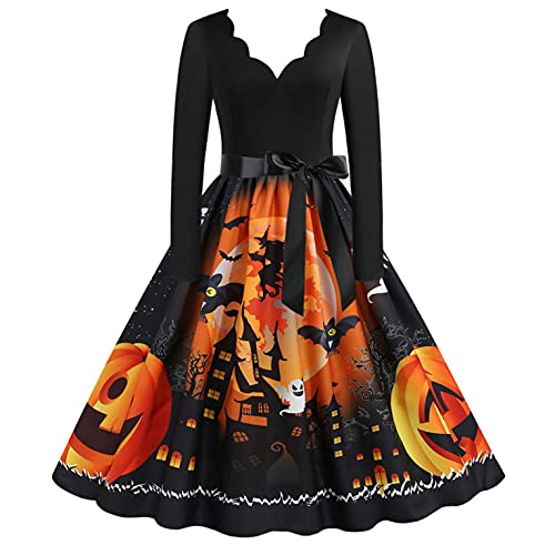 Blingko Kleider Damen Mode Kostüm Kürbis Muster...
