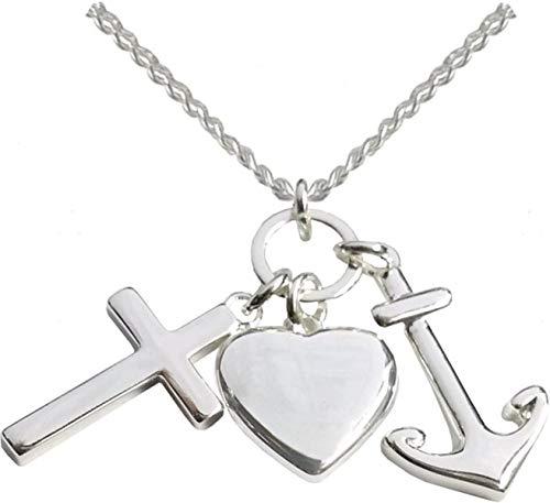 Kette - Halskette mit Kreuz-, Herz- und...