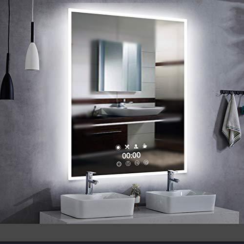 LED-Uhr Wandspiegel Badezimmerspiegel - 50x70cm...