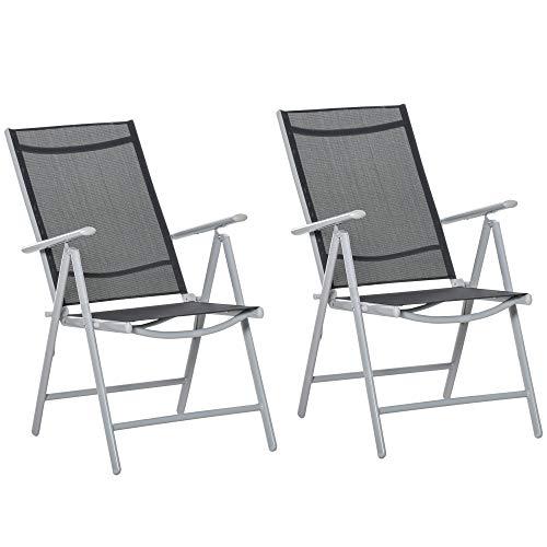 Outsunny 2er Set Gartenstühle Klappsessel aus...