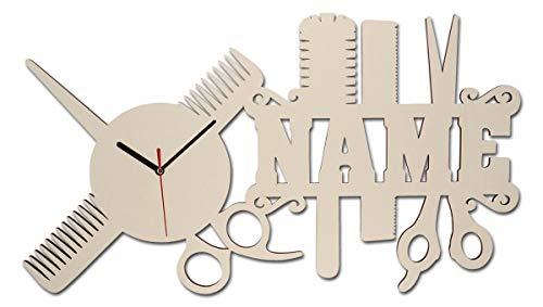 Spezial Holz Wand-Uhr Friseur-Geschenk Schere...
