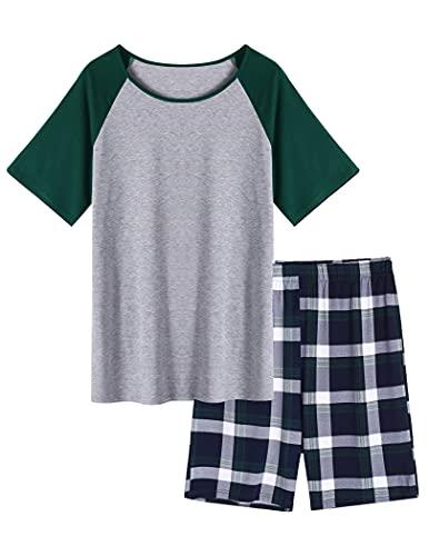 Ekouaer Pyjama Herren Kurz Sommer Zweiteilige...