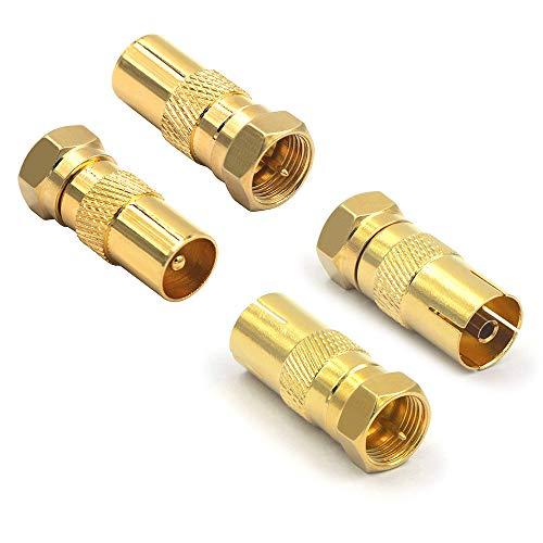 VCE 4 Stück Sat Antenne Adapter F Stecker auf IEC...