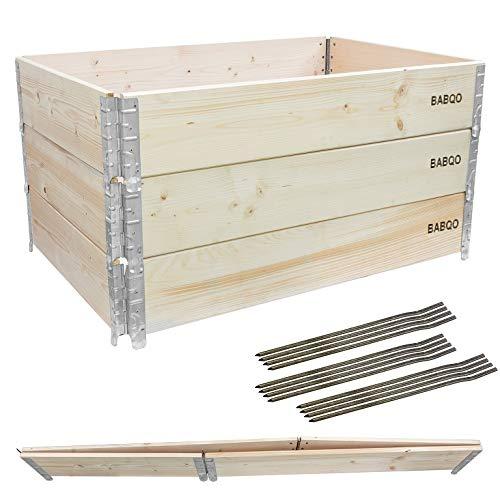 BABQO 3 Stück Paletten Aufsatzrahmen 120x80cm (3...