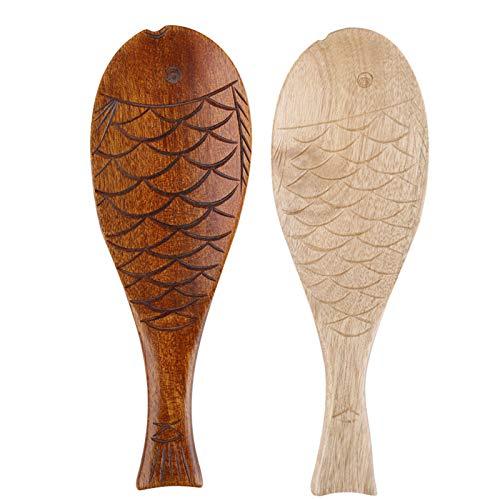 Haushalt Reislöffel Holzen Fisch Löffel aus Holz...