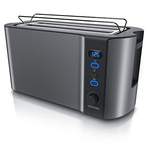 Arendo - Edelstahl Toaster Langschlitz 4 Scheiben...