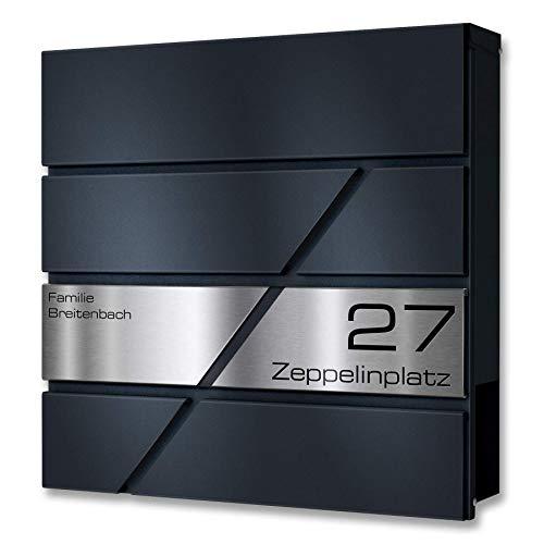 Metzler Briefkasten in Anthrazit Zeppelin - V2A...