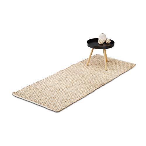 Relaxdays Teppich Jute, Flurläufer, 80 x 200 cm,...