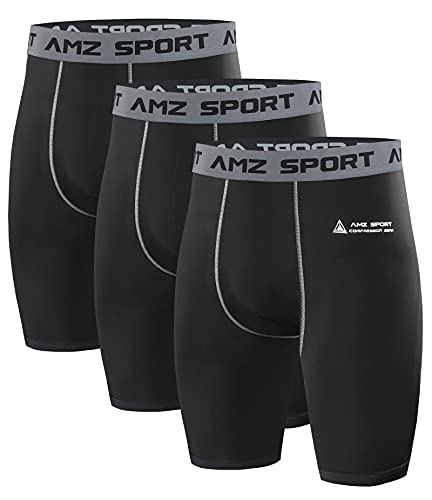 AMZSPORT 3er Pack Herren Kompressionsshorts, Kurze...