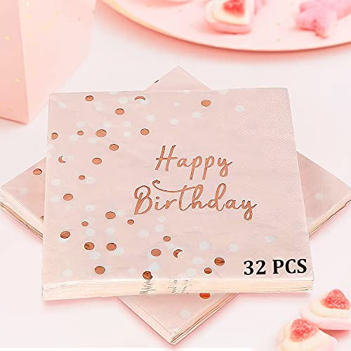Servietten Geburtstag Rosegold, 32 Stück Happy...