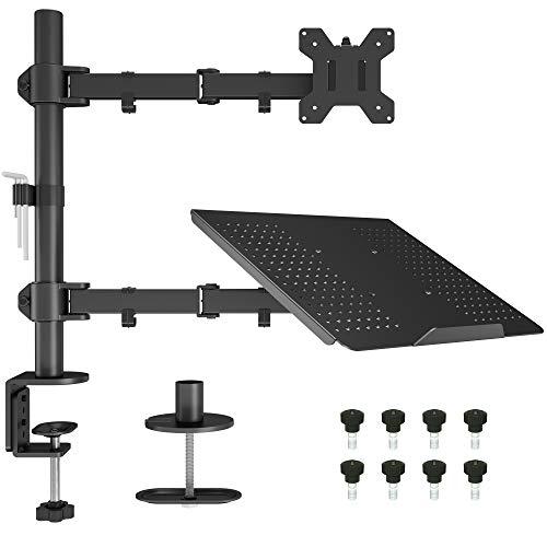 BONTEC Monitor Halterung mit Laptop Arm für 13-27...