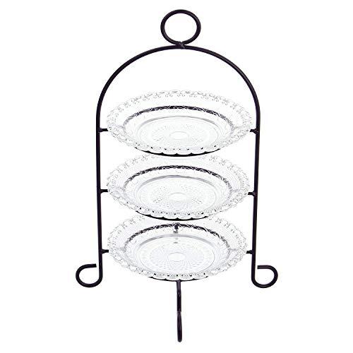 Etagere 3-stöckig aus Metall, mit Glastellern,...