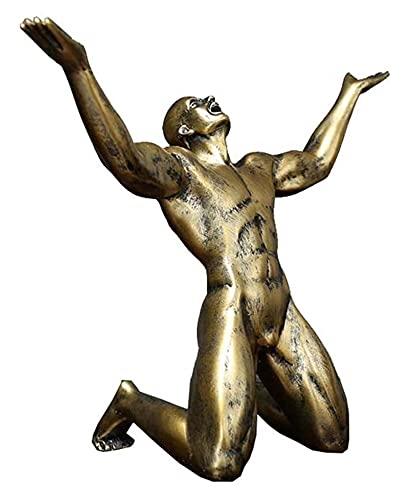 Desktop-Skulptur Harz Goldene Figur Schreiende...