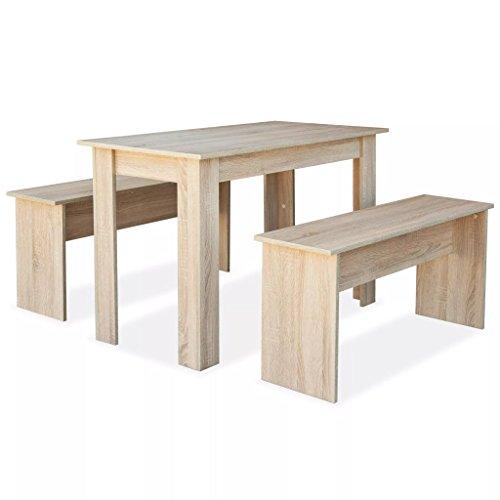 vidaXL Essgruppe 3-TLG. Spanplatte Eiche Tisch...