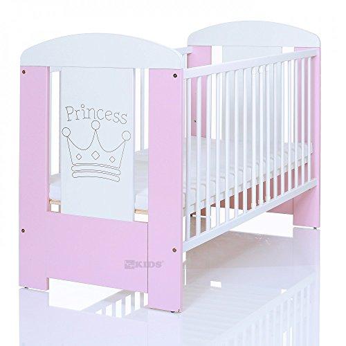 Kinderbett 120x60 cm weiß-rosa mit 3-fach...