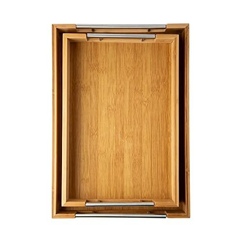 Comfify Rustikale Bambus Serviertabletts aus Holz...