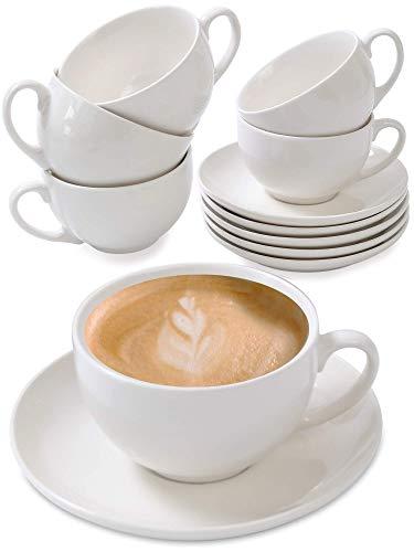 Cappuccino Tassen 6er Set aus Keramik Weiß - Mit...