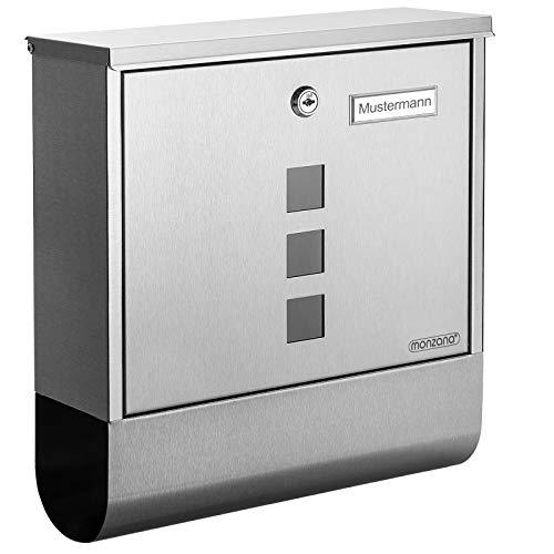 Monzana Design Briefkasten Edelstahl silber mit...