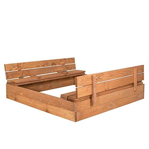 SPRINGOS Sandkasten mit Sitzbank, 120 cm x 120 cm,...