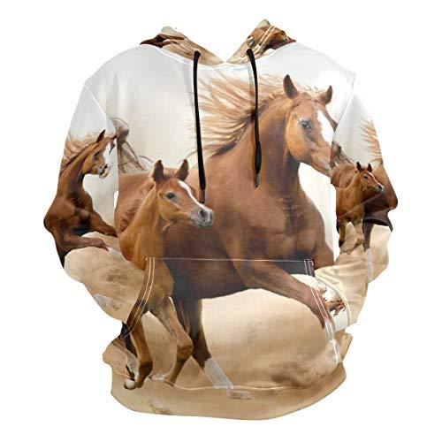 LDIYEU Laufendes Pferd Kapuzenpullis...