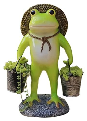 WQQLQX Statue Stehende Frosch Blumentopf Ornamente...