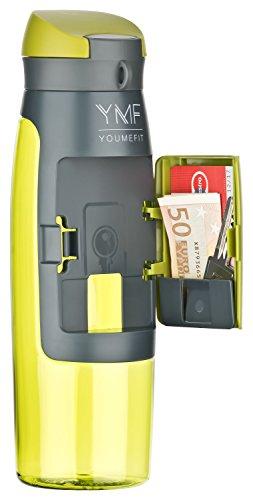 YOUMEFIT Trinkflasche mit Fach - 750ml - Sport...