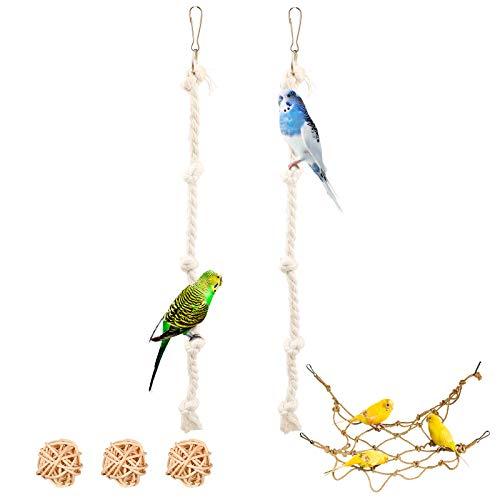 3 Stück Vogel Kletterseil Baumwolle Spielzeug,...