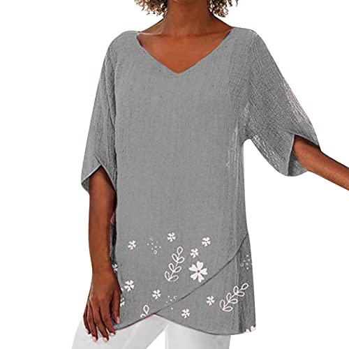 Damen Oversize Shirt V-Ausschnitt Sommer Oberteile...