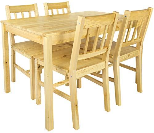 Leomark Tisch und 4 Stühlen Kiefer, Essgruppe -...