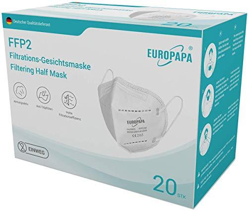 EUROPAPA 20x FFP2 Atemschutzmaske 5-Lagen...