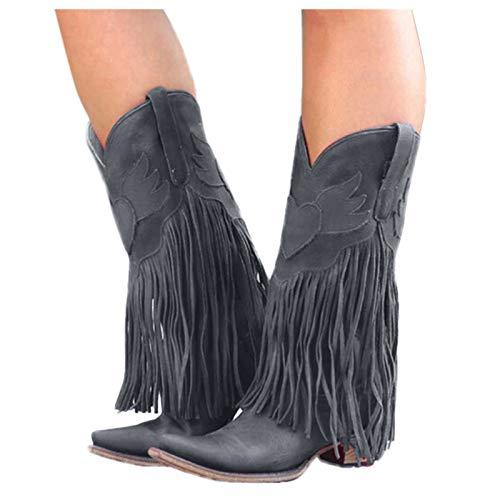 Dasongff Damen Stiefel mit Absatz Fransenstiefel...