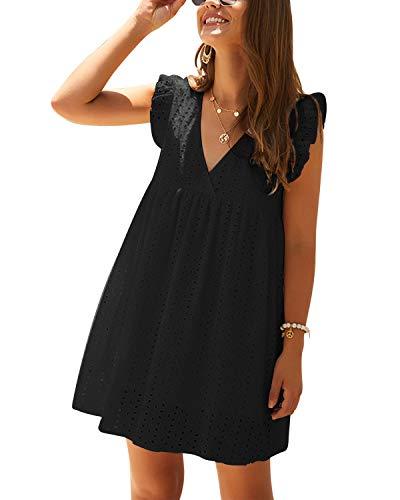 YOINS Kleider Damen V-Ausschnitt MiniKleid Kurzarm...