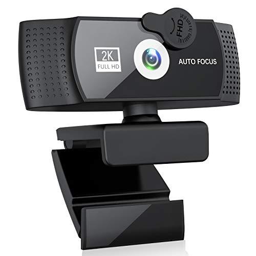 Webcam 2K mit Abdeckung, FHD Webkamera mit...