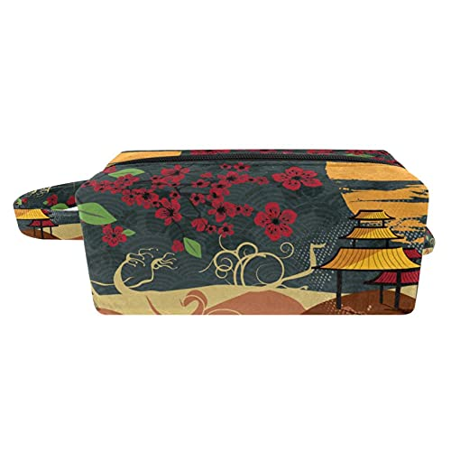 Kosmetiktasche für Frauen Blume und Pavillon....