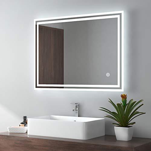EMKE LED Badspiegel 80x60cm Badezimmerspiegel mit...