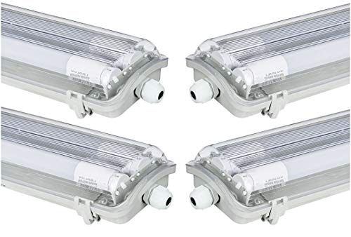 4x G13 LED Feuchtraumleuchte 2x T8 LED, 36W 3600LM...