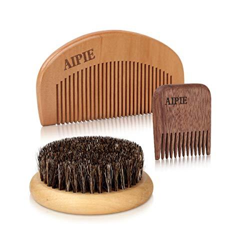 AIPIE 1 Bartbürste 2 Bartkamm Set Bartpflege für...