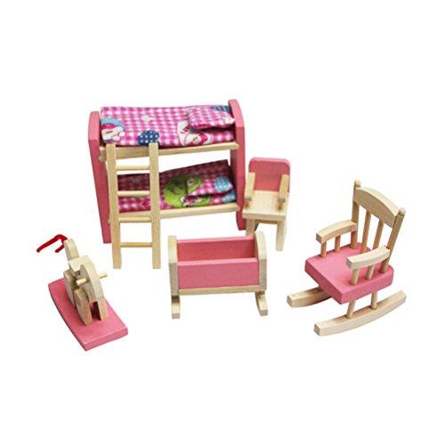 TOYMYTOY Puppenhausmöbel Bett Stuhl Set...