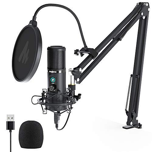 USB Mikrofon Set, MAONO AU-PM421 Gain Regler PC...