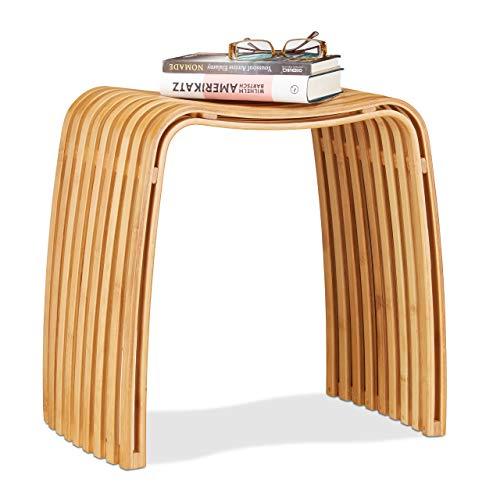 Relaxdays Garderoben Hocker aus Bambus, eleganter...