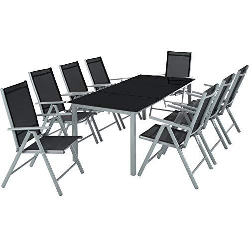 TecTake Aluminium Sitzgarnitur 8+1 Sitzgruppe...