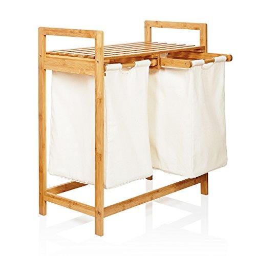 Lumaland Wäschekorb aus Bambus, mit 2...