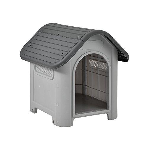 [en.casa] Hundehütte mit Dachluke 75x59x66cm PVC...