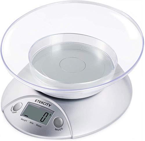 ETEKCITY 5KG Digitale Küchenwaage mit abnehmbarer...