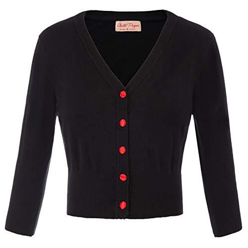 Damen Leichtes Bolero Contrast Button Strickjacke...